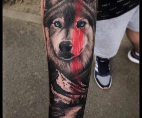 cap de lup cu munti, tatuaje baba novac, pret tatuaj, salon tatuaje bucuresti, tatuaje bucuresti, tatuaje sector 3, tatuaje mall vitan, baba novac tattoo