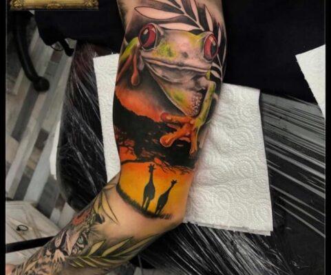 tatuaj broscuta color, tatuaje baba novac, pret tatuaj, salon tatuaje bucuresti, tatuaje bucuresti, tatuaje sector 3, tatuaje mall vitan, baba novac tattoo