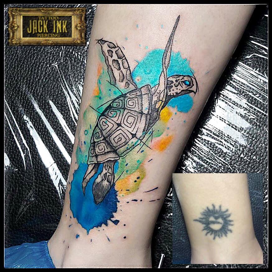 tatuaj cover cu broscuta testoasa color