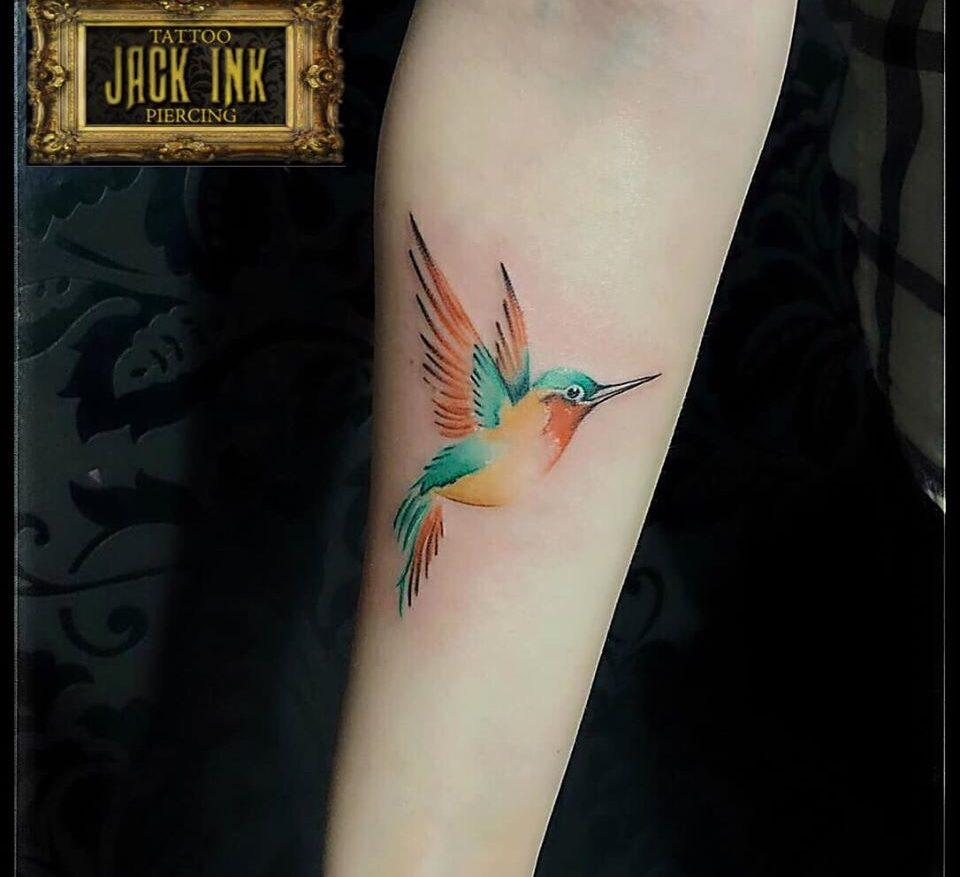 tatuaj color cu pasarea colibri pe antebrat
